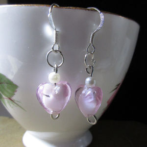 Jewelry - Pink blown glass & faux pearl earrings hand made